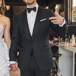Stage Suits Australia - Summer Beach Black Groom Tuxedos Wedding Men Suits Blazer Shawl Lapel 2piece Coat Pants Black Trousers Grooommen Jacket Ceremony Stage