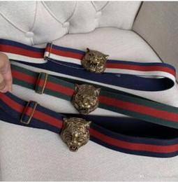 Webbing belts online shopping - 2019 hot classic designer ladies quality red and blue belt high elastic webbing tiger head buckle belt