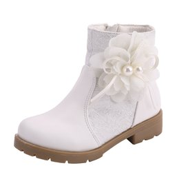 $enCountryForm.capitalKeyWord Australia - Girl lace boots child comfort flower shoes walking shoes pearl flower sewn white pink autumn winter party 901A-7