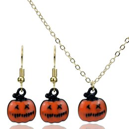 $enCountryForm.capitalKeyWord Australia - Halloween Necklace Earrings Sets Cosplay Pumpkin Necklace and Earrings Jewelry for Women Kids Halloween Holidays Costume