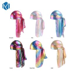 Discount blended wigs - Colorful Men du rag Wigs Turban Doo Rag Headband Pirate Hat Hair Accessories Men's Sparkly Silk Durag Bandana Headw
