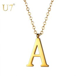 Wholesale Stainless Steel Initial Name Necklace Letter A G Pendant Necklaces 2018 For Women Men Girls Jewelry Best Birthday Gift P1214