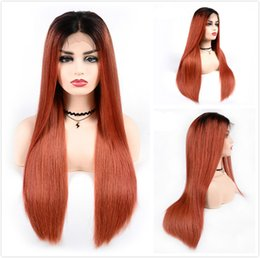 $enCountryForm.capitalKeyWord Australia - Fashion Orange Human Hair Lace Front Wigs Colored Brazilian Straight Braided Wig For Black Women Cheap T1B 350 Ombre Glueless Full Lace Wig