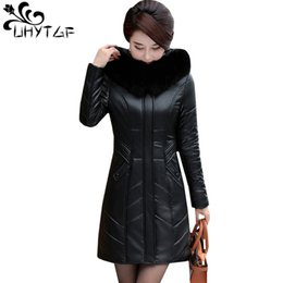 $enCountryForm.capitalKeyWord Australia - UHYTGF L-7XL Oversized Winter Leather jacket Women High quality leather jacket down cotton Warm Coat Lady Slim elegant Coat 1144