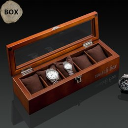 Black Wood Box Australia - Top 5 Slots Wooden Watch Display Cases Black Watch Wood Case Pillow Fashion Storage Packing Gift Boxes Jewelry Box W027