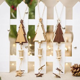 Discount pendants for crafts - 1pc Wooden Art Craft Christmas Pendant Christmas Tree Ornaments Decoration For Home Xmas Tree New Year