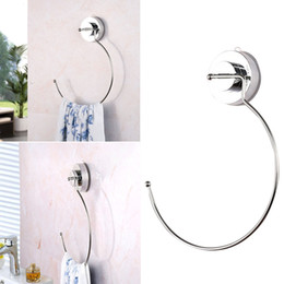 light suction cups UK - Towel Rack Classic Holder Durable Convenient Reusable Polished Stainless Steel Ring Thick With Suction Cup Bathroom Storage Organization