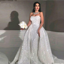 $enCountryForm.capitalKeyWord Australia - Sexy Shinny Sequined Mermaid Wedding Dresses With Attached Train Luxury Strapless Dubai African Plus Size Bridal Gown