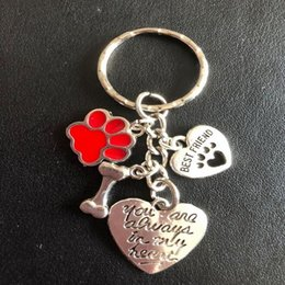 Heart Prints Australia - Best Friends Keychain Enamel Cat Dog Paw Print Bone Key Ring For Keys Cars Vintage Silver Pendants Always In My Heart Key Chains