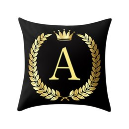 silver grey cushion covers NZ - Polyester Cotton Throw Pillows Black and Gold A To Z Letter Alphabet Printed Cushion Cover Decorative Pillows Pillow Case Q4