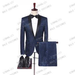 Shining Suits NZ - Mens Suits With Pants 2019 Brand Suit Men Navy Blue Paisley Shine Men Suit For Wedding Groomsman Best Man Terno Masculino
