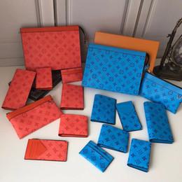 venda por atacado Vários tamanhos azul bolso superior curto carteira de cartão de crédito compartimento homens e mulheres carregam lona designer de carteira