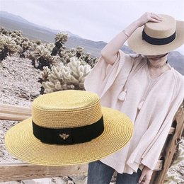 Girl Hat Styles Summer Australia - Summer Sunscreen Women Straw Hats Fashion Bee Cute Adjustable Girls Flat Hats Holiday Street Style Female Brand Wide Brim Hats