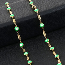 f4252d71e Green Enamel Evil Eye Style Stainless Steel Link Chain Necklace for Women  Ladies Turkish Statement Jewelry collares Gifts MN241