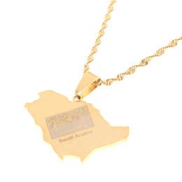 $enCountryForm.capitalKeyWord Australia - Stainless Steel Saudi Arabia Map Flag Gold Color Charm Pendant Necklace Kingdom of Saudi Arabia Jewelry Women Girl