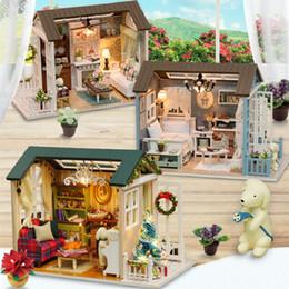 $enCountryForm.capitalKeyWord Australia - Diy 3D Children Handmade Wooden Doll Houses Toy Assemble Furniture Miniatura Miniature Mini Doll House Led Light Home decoration