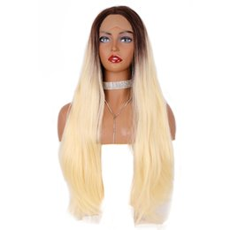 Rooted Blonde Lace Front Wig UK - Hot Fashion Long Straight Wigs 24inch Heat Resisitant Blonde Lace Front Wig With Brown Roots 180% Density Glueless Synthetic Hair For Women