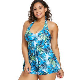 39e98a499b High Cut Swimdress Plus Size Tankini Swimsuits Floral print Swimwear Women  Ladies Push Up With Shorts Sport Two Pieces