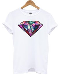 Army Shirt Designs NZ - Galaxy Diamond T Shirt Fashion Hipster Space Tumblr Printed Design Top Gift Mens 2018 fashion Brand T Shirt O-Neck