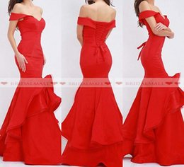 f6b0631028d Elegant Off Shoulder Ruffles Tulle Mermaid Evening Dresses 2019 Corset Lace  Up Back Formal Party Gowns Robe de soirée Long Red Prom Dress
