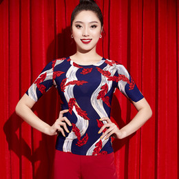 Samba clothing online shopping - 2018 New Latin Dance Tops In Ballroom Cha Cha Samba Adult Women S Clothing Practice Shirt Short Sleeves Dancing Costume DWY2076