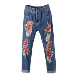 $enCountryForm.capitalKeyWord UK - Women's rose flower embroidery roll up hem crop jeans Plus size fashion loose holes ripped denim pants Ankle length