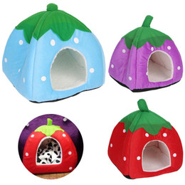 Cute Small Dog Houses Australia - Cute Strawberry Pet Bed Dog Cat Kitten Puppy Cave Kennel House with Mat Foldable AUG30