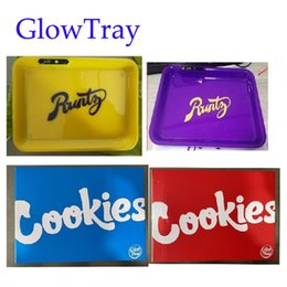 Wholesale Cookies SF California Glowtray Blue Red LED Cookies Rolling Glow Tray Yellow Purple Runtz Packaging Paper Box Rolling 420 Dry Herb Flower