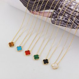 Discount gold shell clover necklace - High Quality luxaryTitanium Steel Gold plated rose gold Necklace four-leaf clover pendant chain ladies brand18 color she