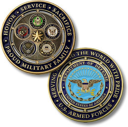 military coins NZ - Free Shipping New Proud Military Family US Armed Forces DOD Challenge Coin