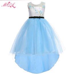 Barato 2018 luz céu azul flor meninas vestidos hi-lo jóia pescoço meninas vestir à venda mc1669