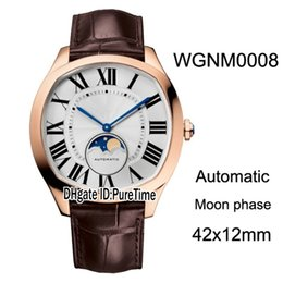 Cheap big dial watChes online shopping - New Drive WGNM0008 Rose Gold Silver Texture Dial Big Roma Automatic Moon Phase Mens Watch Brown Leather Cheap Watches CAR B31a1