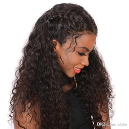 Big Black wigs online shopping - Human Hair Lace Front Wigs Pre Plucked For Black Women Curly Glueless Virgin Peruvian HD Transparent Curly Lacefront Wig Bleached Knots