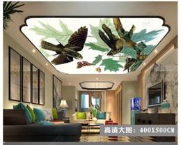 $enCountryForm.capitalKeyWord Australia - 3D photo custom ceiling mural wallpaper interior decoration HD flowers and birds green leaves small fresh zenith ceiling mural wall paper