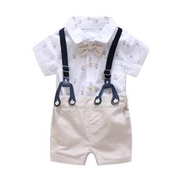 8f2611bc4b4d 0-24M Newborn Clothes Set Formal Suit for Baby Boy Clothes Set Soft Short Sleeve  Romper+Khaki Shorts Boys Overalls Suit Children
