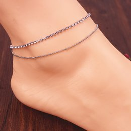 Discount gold feet chain sexy foot - Lovely Girl Crystal Ankle Bracelet Silver & Gold Color Double Link Chain Anklet Sexy Barefoot Jewelry Women Foot Bracele