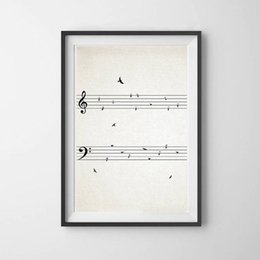 vintage art print canvas UK - Sheet Music with Birds Vintage Poster Prints Music Wall Art Picture Canvas Painting Musical Notes Room Decor Music Teacher Gift