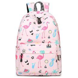 Cute Backpacks For Teenage Girls Australia - Original Designer Brand Women Cute Flamingo Printing School Backpack for Teenage Girls 14-15.6 inch Laptop Bags Kawaii Bookbag Y18110202