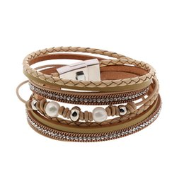 Trendy charms online shopping - Leather Bracelet Female Trendy Femme Rhinestone Crystal Charms Bracelets Bangles For Women Jewelry MultiLayer Bracelet