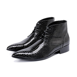 Open tOe cOwbOy bOOts online shopping - Plus Size genuine Leather Men Ankle Boots High Heel Men Cowboy Shoes lace up python skin punk boots winter autumn high top