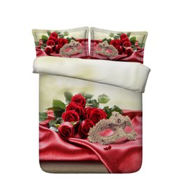 Chinese  Girls Rose Flowers Duvet Cover Set Floral Bedspread Bed Coverlets Bedding Sets Romantic Wedding Love Bed Set Gift 3pcs Quilt Cover Heart bed manufacturers