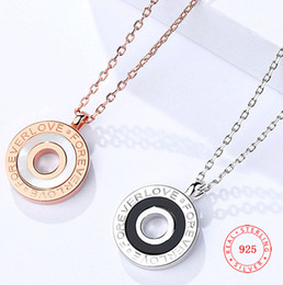 $enCountryForm.capitalKeyWord NZ - FOREVER LOVE letter agate jewelry for Girls China rose gold 925 Sterling Silver Pendant Necklace female small exquisite shell necklace