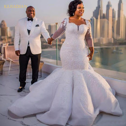 $enCountryForm.capitalKeyWord Australia - Gorgeous Long Sleeve South Africa Mermaid Wedding Dress cathedral ruffles train Sparkle Sequins Beads Lace Applique Bridal Gown
