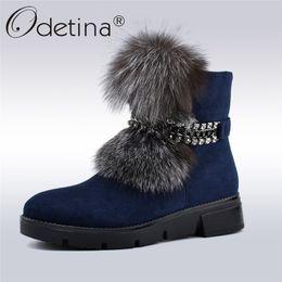rubber snow chains 2019 - Odetina New Fashion Luxury Fox Fur Metal Chain Snow Boots Women Platform Soft Wedge Heels Winter Thick Plush Women Ankle