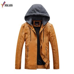 Wholesale mens business casual winter coat for sale - Group buy Hot sale Mens Leather Jackets Men Jacket PU Business Casual Plus Thick Warm Wide Collared Winter Faux Biker Coats Windproof XXL