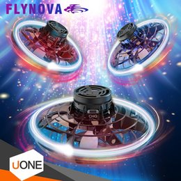 spinner red Australia - In Stock FlyNova Flying toy Fidget Spinner Portable 360° Rotation Stress Release LED Lights Spinning Fingertip Christmas Gift Toys