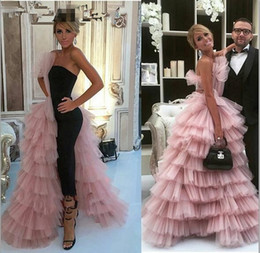Evening Straight Gown Australia - Elegant Black Straight Dubai Prom Dresses Pink Tulle Long Arabic Evening Gowns Tiered Ruffle Formal Women Formal Party Gown
