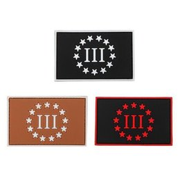 19VP-19 3D Three Percenter PVC morale Pacthes Three 111 rubber Army patch with magic stick for jacket cap morale patch from leather belt clips manufacturers