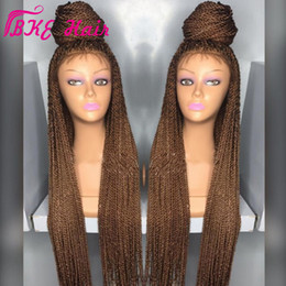 Hair wig crocHet online shopping - Stock Black Burgundy Brown Senegalese Twist wig Synthetic Crochet Braids wig full lace frontal micro braid wig with baby hair