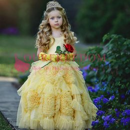 2017 flower girl dresses 2019 Lovely Yellow Flower Girls Dresses Spaghetti Straps A Line Ruffles Tiered Skirts Kid Formal First Communion Dresses Girls Pageant Gown